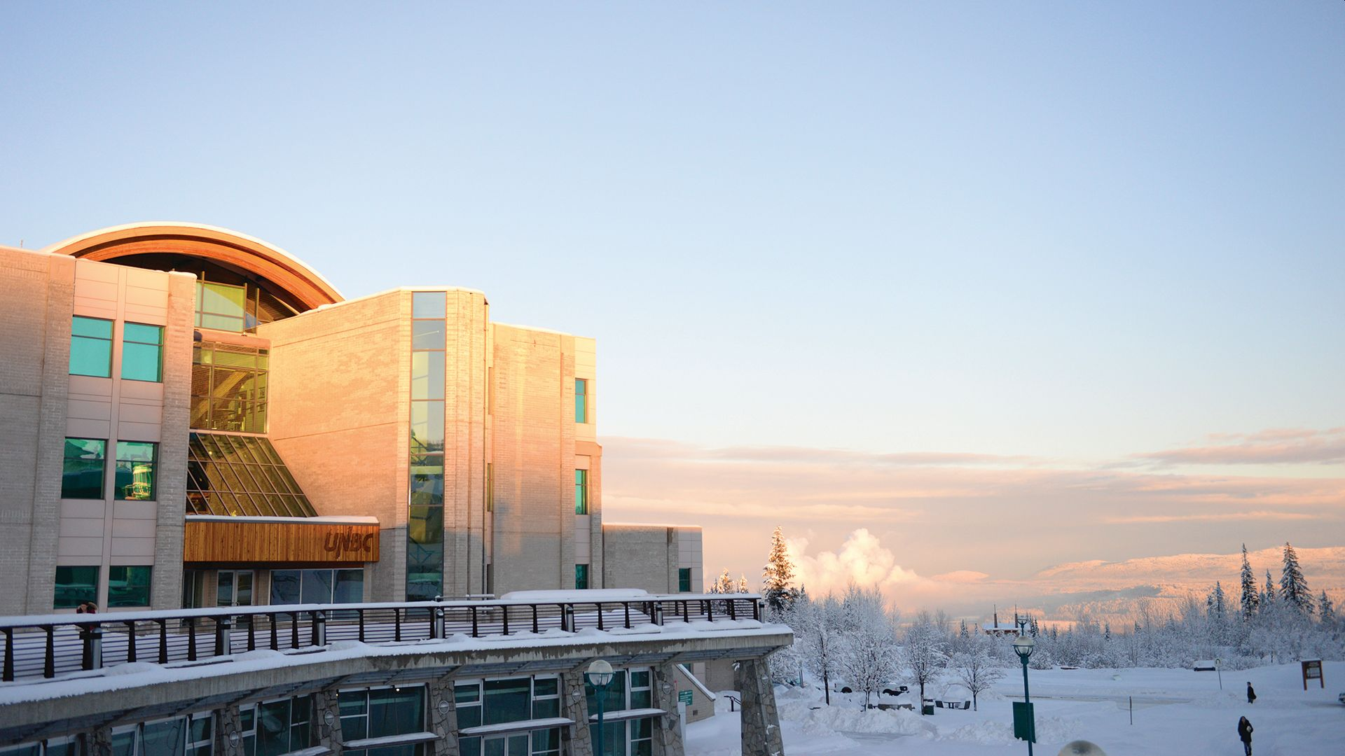 UNBC Library in the Snow
