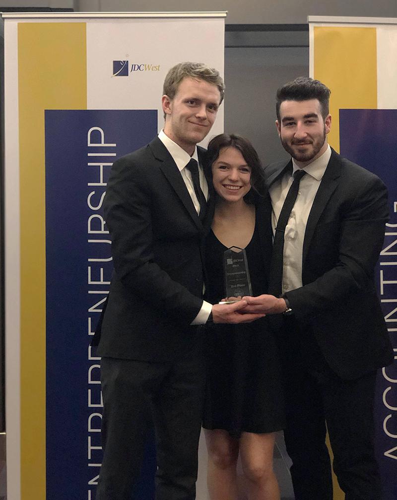 2nd place Entrepreneurship team left to right: Cameron Lang, Hope Goudsward, Josh Deans