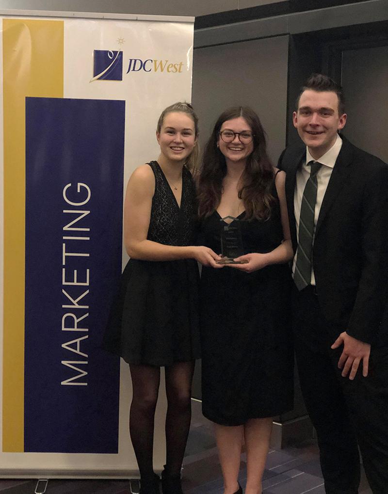 2nd place Marketing team left to right: Sheridan MacArthur, Morgan Kearns, Ryan West