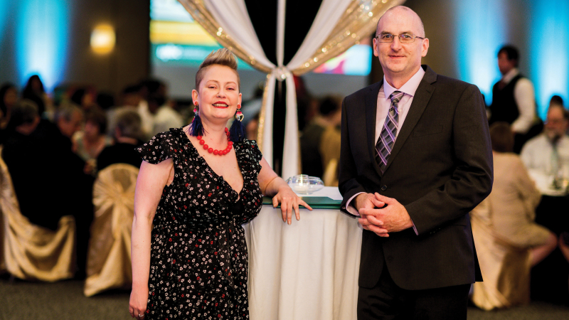 Sarah White (Community Service) and Dr. David Llewellyn (Professional Practice) received 2019 Distinguished Alumni Awards at the Chancellor's Dinner in May.