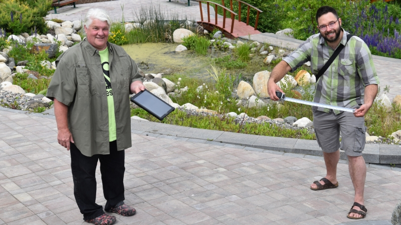 Nancy Harris and Mark Groulx in the David Douglas Botanical Garden