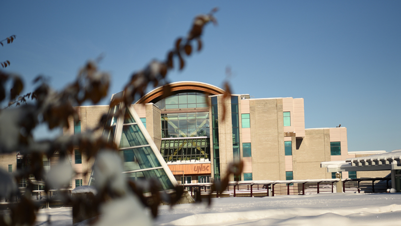 Prince George campus blanketed in a fresh snow.
