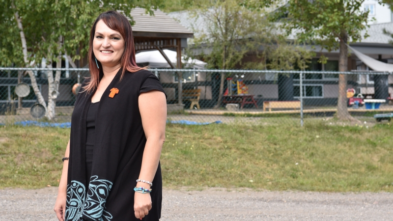 Kelly Thirkettle outside of the UNBC Childcare Centre