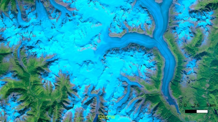 Satellite image of the Klinaklini Glacier and the Ha-Iltzuk Icefield in  British Columbia