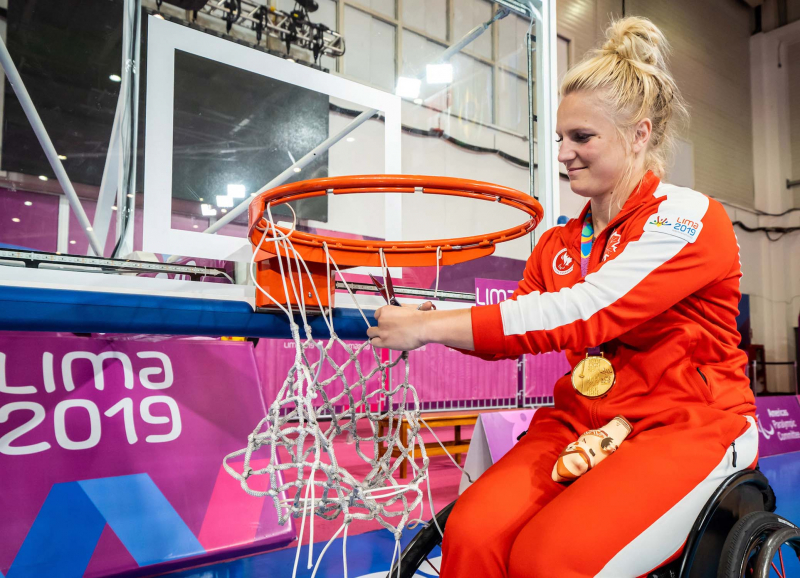 Kady Dandenau, who led Canada's women's wheelchair basketball team to a gold medal at the 2019 Parapan American Games, also starred for UNBC's women's basketball team from 2007 to 2013.