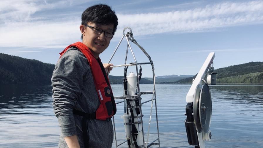 Student Jingyu Chen at Quesnel Lake