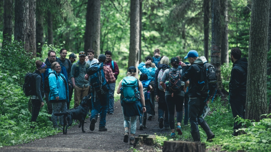 unbc students learning in the forest