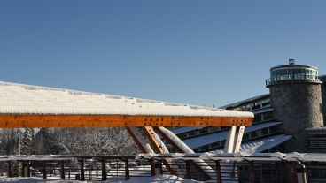 Snow blankets the UNBC Prince George campus