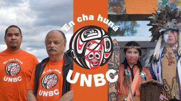 Graphic with Brandon Prince and Dr. Henry Harder at UNBC and Kelsey Abraham and his daughter in regalia off campus.