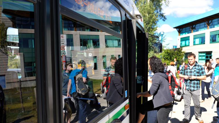 bus on UNBC campus