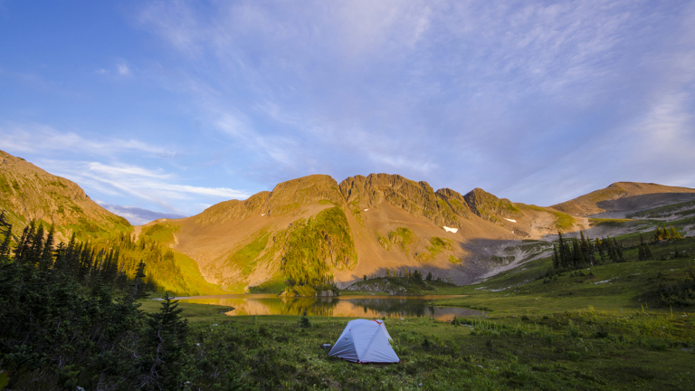 BC landscape with tent