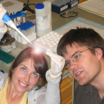 Brianne Burkinshaw (BSc BCMB 2008) and William Dunn (MSc MCPS 2011) analyze yeast in Dr. Rader's lab.