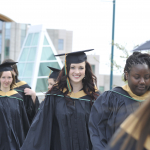 Processional to the Convocation ceremonies at the Northern Sport Centre.