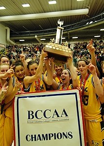 Timberwolves athletes with their BCCAA trophy