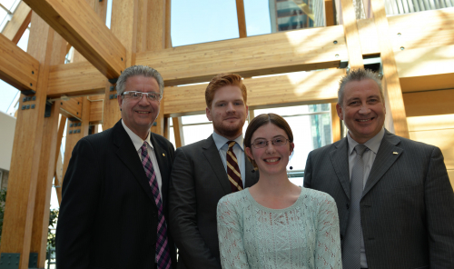 Mayor Lyn Hall, NUGSS President Duncan Malkinson, student Tegan Lott, UNBC President Dr. Daniel Weeks