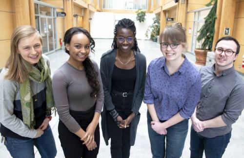 Research Ambassadors Kristen Kieta, Kimberley Thomas, Raliat Abioye, Katie Timms and Emilio Caputo.