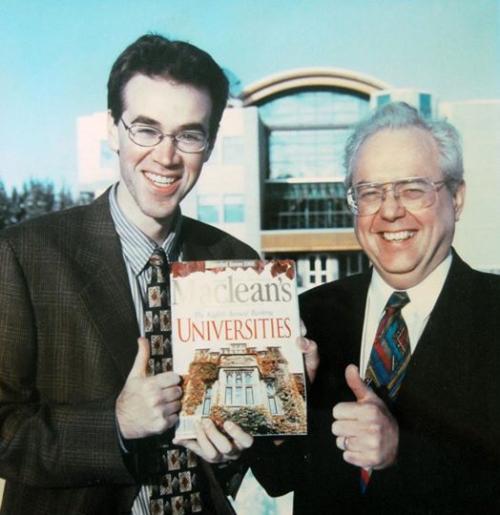 Rob van Adrichem and Charles Jago with Maclean's Magazine University Ranking issue