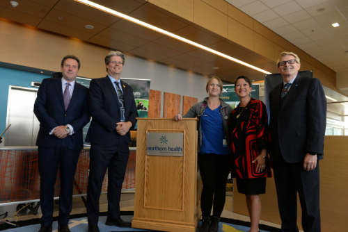 Edward Stanford, Northern Health Board member; Dr. Dan Ryan, UNBC VP Academic and Provost; Katie Phillipoff, Northern Lights College nursing student; Melanie Mark, Minister of Advanced Education, Skills and Training; and Bryn Kulmatycki, Northern Lights President