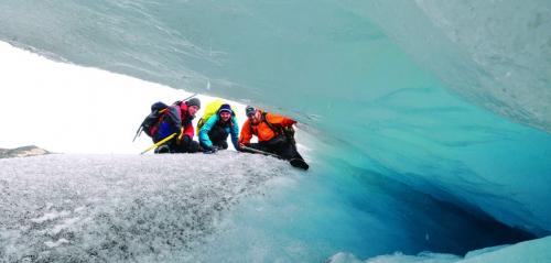 Researchers exploring a glacier