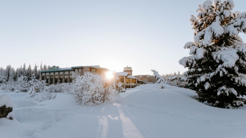 A sunny, winter day on UNBC's campus.