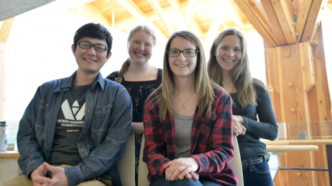 Environmental Engineering students (front from left) Anthony Tsai and Lorelei Magdzik (back from left) Makayla Wozney and Alexandra Pedersen.