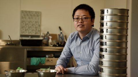 UNBCEngineering Assistant Professor Dr. Wenbo Zheng in his lab
