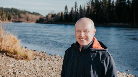 Environmental Science professor Dr. Stephen Dery along the Nechako River