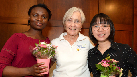 From left: UNBC PhD student Christiana Onabola, Prince George P.E.O. Chapter President Beth Quesnel and UNBC PhD student Hooi Xian Lee.
