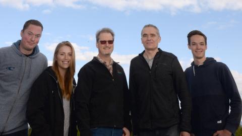From left, Cody Birch, Jordan Pawluk, Dr. Peter Jackson, Taras Tereshchak and Brayden Nilson