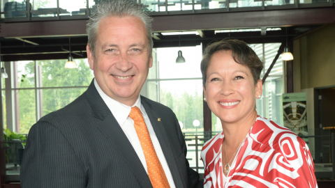 Dr. Daniel Weeks and Advanced Education Minister Melanie Mark