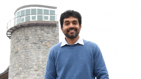 post-doctoral fellow Dr. Rajeev Pillay outside at the Prince George Campus