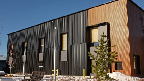 UNBC's Wood Innovation Research Lab in winter