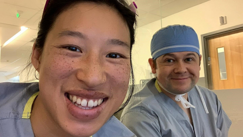 A selfie of Jennifer Nguyen and Dr. Geoff Johnson in a hospital setting