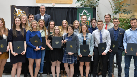 20 UNBC Timberwolves student-athletes who were recognized s Academic All-Canadians