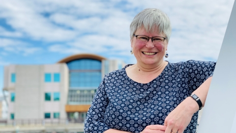 Catherine Wishart outside at the Prince George campus