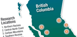 Map of BC indicating research locations
